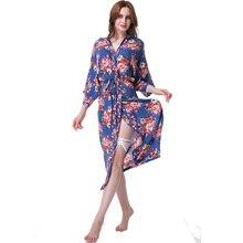 2017 длинные Стиль цветочный Халаты Для женщин ночное белье очень мягкие и удобные хлопковые пижамы Халаты халат Мода дамы Ночная рубашка