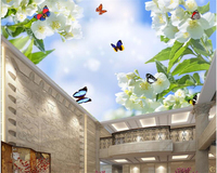 Beibehang Beautiful Fashion Decorative Painting Papel De Parede 3d Wallpaper Flower Butterfly Blue Sky White Cloud