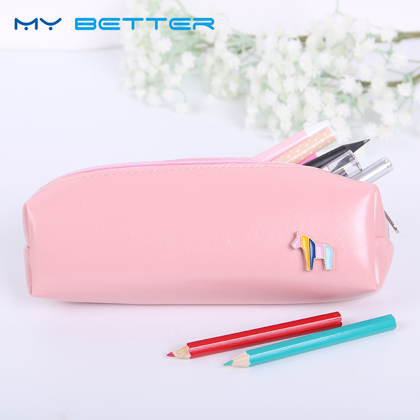 Korean Style Candy Color Fashion PU Leather Horse Cosmetic Bags Women Portable Zipper Travel Make Up Pouch Beauty Storage Bag solid color fashion cosmetic bag ladies portable travel necessary markup pouch storage beauty tools accessories supply products