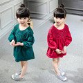 2016 New Promotion Full Vestidos Elsa Super Girls Pure Beauty Gauze Long Sleeved Dress Princess Spring Clothes Summer Q154