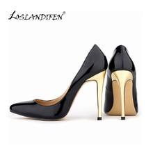 LOSLANDIFEN Classic Sexy Women Pumps Fashion Gold Heels High Shoes Spring Wedding 10 Colors 302-1JG