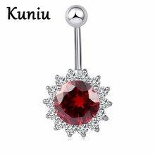KUNIU Fashion Sunflowers round zircon navel nail Women body piercing jewelry navel ring sexy ladies bar