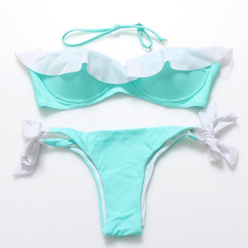 Bikini 2017 Swimwear Women Solid Swimsuit Bathing Suit Sexy Bandage Bikini Set Female Ruffle Push Up Swim Wear String Beachwear