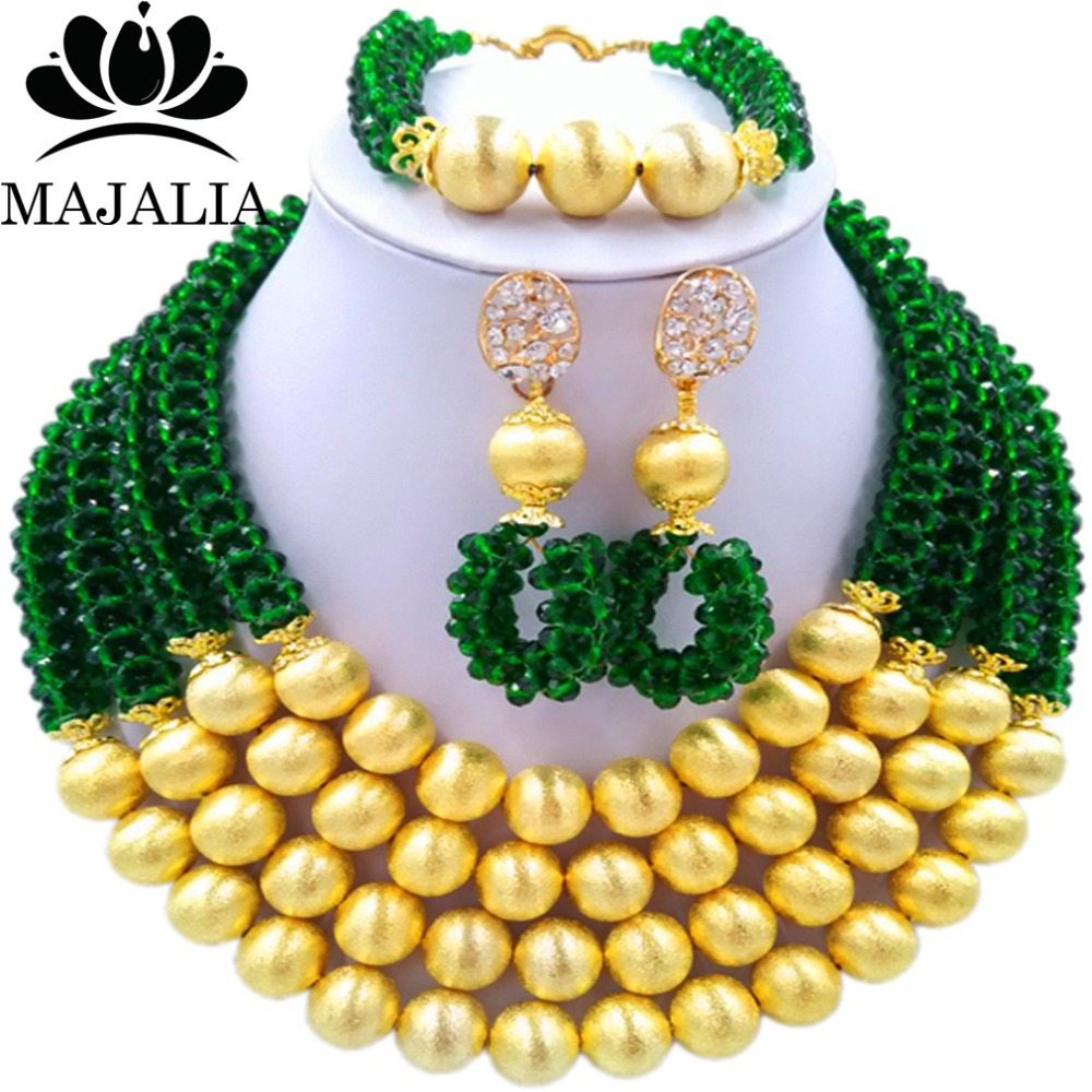 Majalia Fashion Dark green Nigerian Wedding African Jewelry Set Crystal Necklace Bride Jewelry Sets Free Shipping 3LI022Majalia Fashion Dark green Nigerian Wedding African Jewelry Set Crystal Necklace Bride Jewelry Sets Free Shipping 3LI022