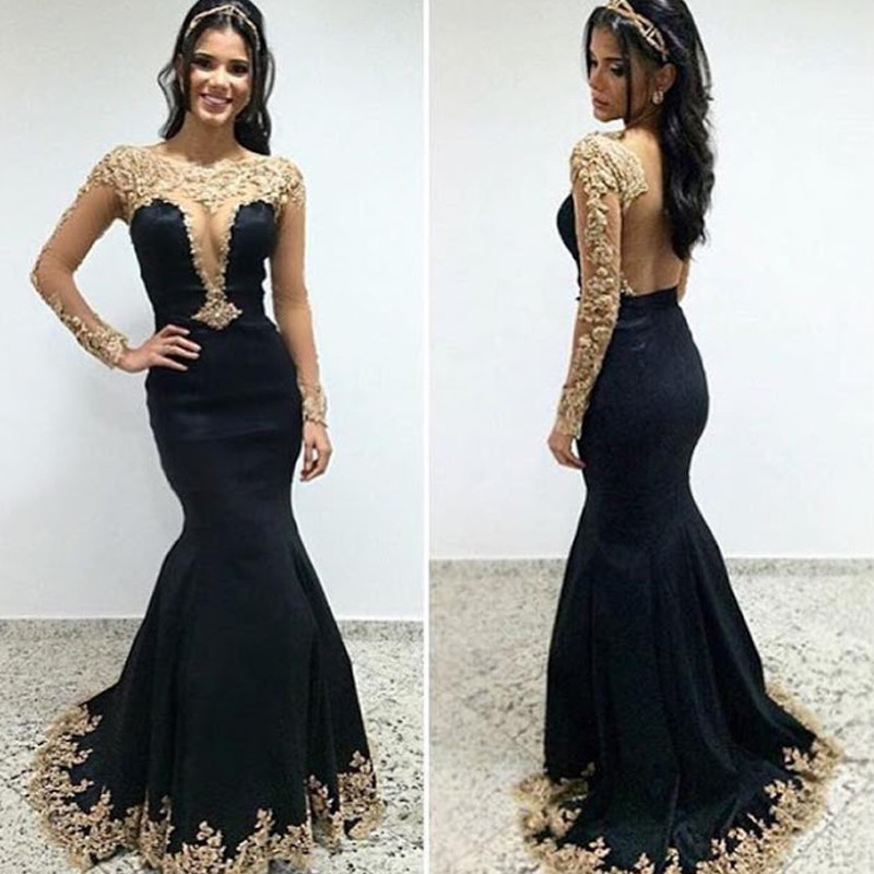 Black and Gold Floor Length Dresses