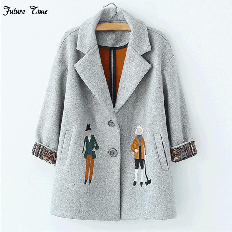 2017 г. осенние женские пальто, европейские модные женские шерстяные куртки с вышивкой зимняя верхняя одежда серый пальто кашемировое пальто ...