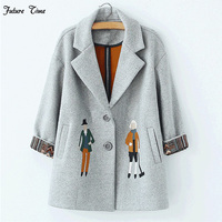 2016 New Spring Women Coats Korea Style Women Suit Collar Woolen Jacket Embroidered Cartoon Characters Free
