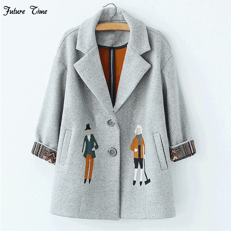 2018 autumn women coats,European fashion Female woolen jackets Embroidery outwear winter grey coats cashmere coat femme C0361
