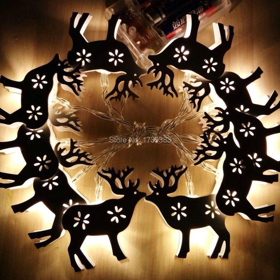 10PCS LOT Animal Deer Iron font b LED b font Home Holiday Christmas Decorative Wedding xmas
