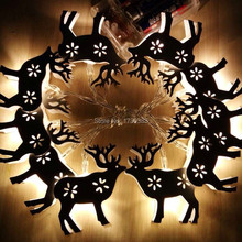 10PCS/LOT Animal Deer Iron LED Home Holiday Christmas Decorative Wedding xmas String Fairy Curtain Garlands Strip Party Lights