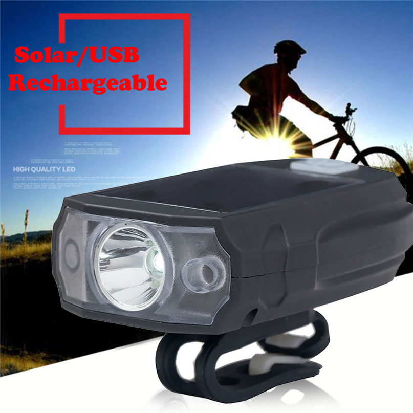 Waterproof Bike Bicycle Solar LED Front Light USB Rechargeable Headlight Lamp