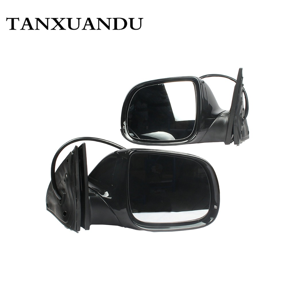 Black LCA Lane Change Assist Electric Heated w Fold Door Mirror Surround Light Assembly For AUDI