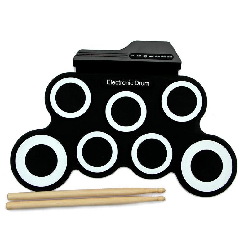 Tambour enroulable électrique Portable avec pilons manuel enfants jeu de batterie de Simulation entraînement instruments de musique jouets pour débutants