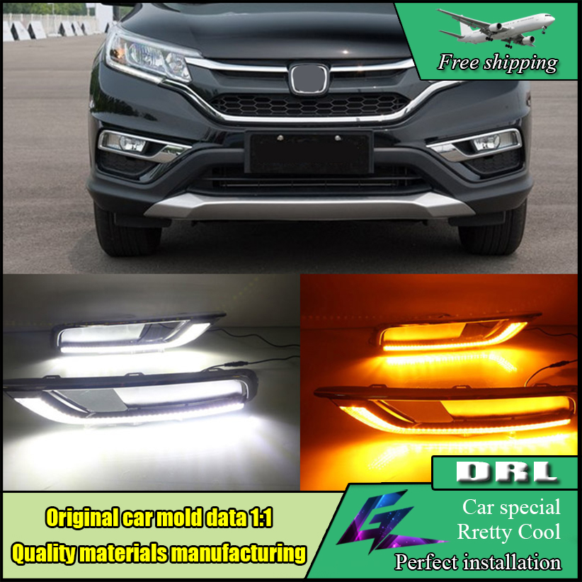 Car Styling LED Daytime Running Light For HONDA CR-V CRV 2015 2016 LED Fog Light DRL With Turn Yellow Signal Front Bumper Lamp july king led daytime running lights drl case for honda crv cr v 2015 2016 led front bumper drl 1 1 replacement