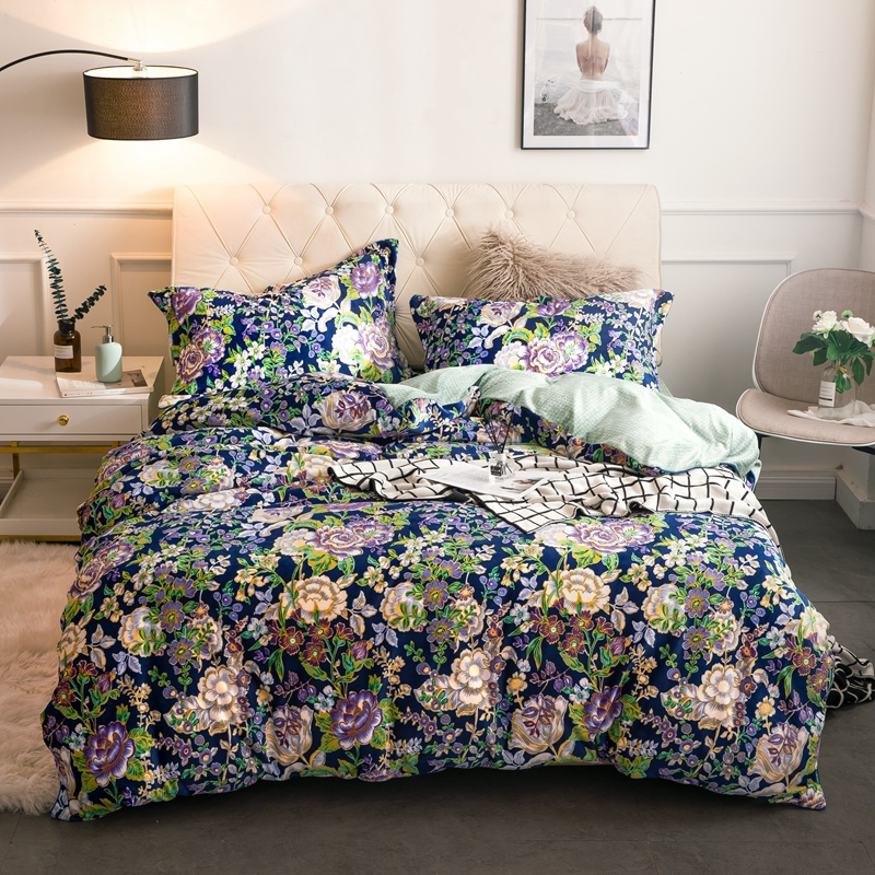 Blue flowers Comforter Bedding Sets queen king size 4pcs Fleece fabric Bed Linings Duvet Cover Bed Sheet Pillowcases Cover Set