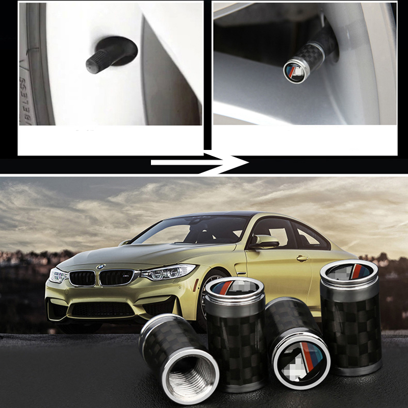 Real Carbon Fiber Chrome Metal Car Wheel Tire Tyre Valve Caps for BMW F30 E90 X5 F15 F15 E70 X6 F16 E71 X3 F25 X4 F26 F10 F07