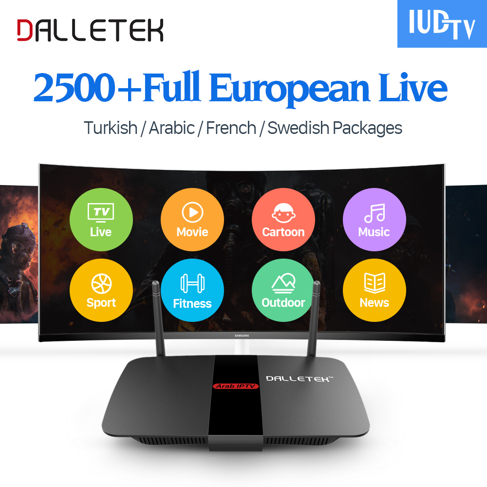 Dalletektv Android TV Set Top Box Quad Core 2500 IPTV Channels Subscription Europe Arabic French Italy UK Smart Media Player android box s912 t95zplus europe french arabic iptv channels smart tv 1300 live hd wifi media player set top box