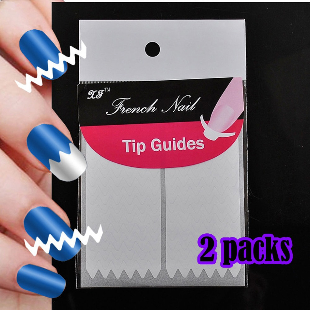 ᑎ‰Fashion 2 packs French Manicure DIY Nail Art Tips Tape Sticker ...
