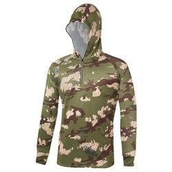 Camuflagem masculina roupas de pesca com capuz anti-uv respirável proteção solar manga longa camisa roupas para pesca esportes ao ar livre