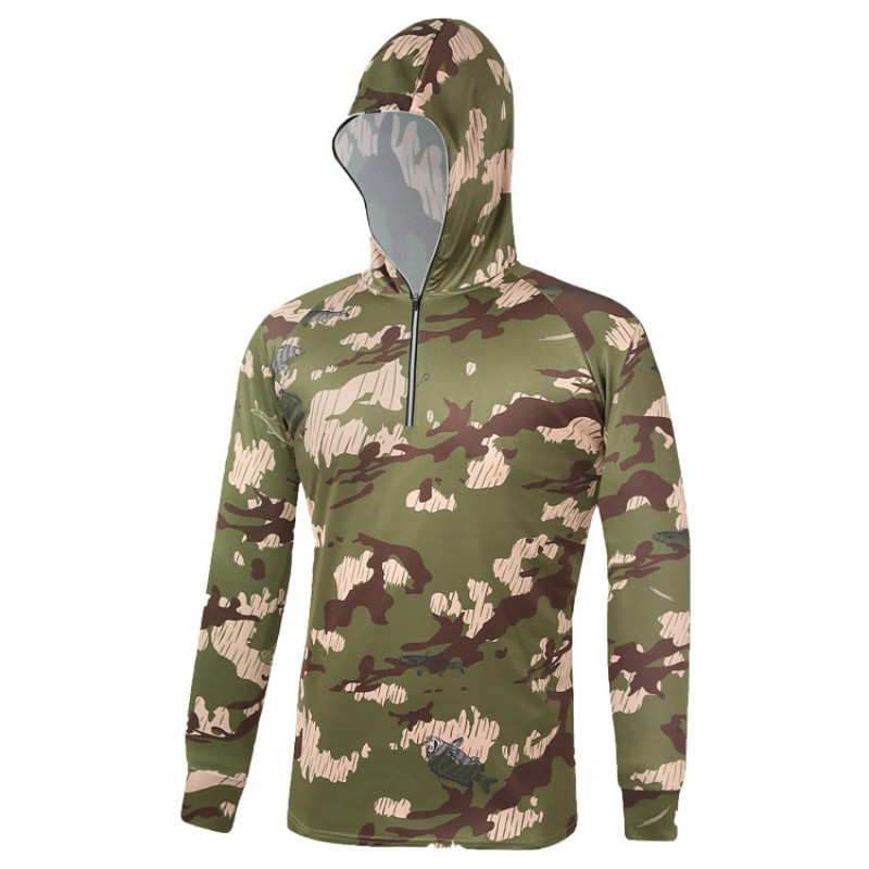 Men's Camouflage Fishing Clothing Hooded  Anti-UV Breathable Sun Protection Long Sleeve Shirt Clothes For Fishing Outdoor Sports