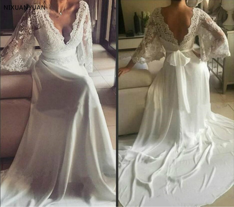 Vintage Modest 2019 Beach Wedding Dresses With Long