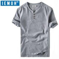 IEMUH Men T shirt Short Sleeves Cotton Linen T shirt Male Fashion T Shirts Short Loose Thin Chinese style Fashion T Shirts