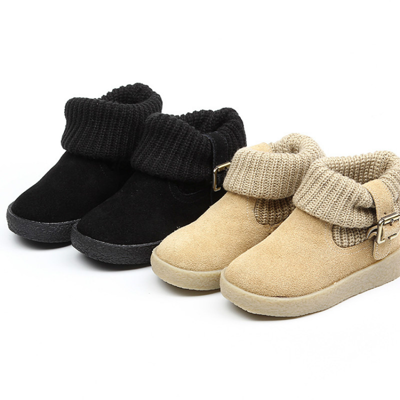 Kids Snow Boots Genuine Leather New Fashion Classic Children Botas Boys Girls Winter Boots with Buckle Beige Black Size 26-37