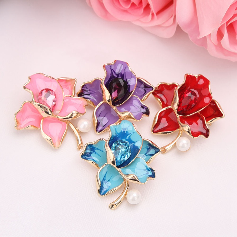 Factory Direct Sale Pink / Purple / Red Enameled and Crystal Flowers Brooches For Women