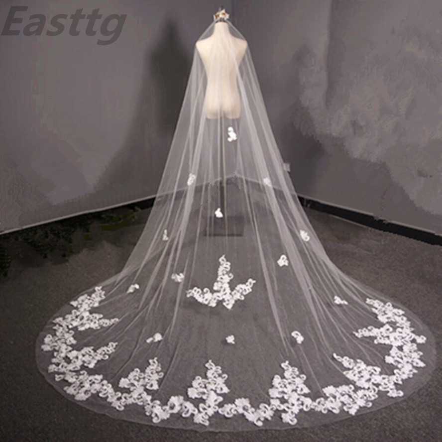 Real Photos 3.5 Meter White Ivory Cathedral Long One Layers Wedding Veil Lace Edge Bridal Veil with Comb Wedding Accessories
