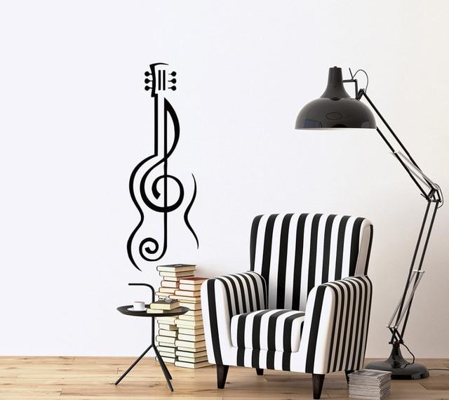 Musik Art Vinyl Stiker Untuk Ruang Tamu Dekorasi Alat Gitar Dinding Decals Removable