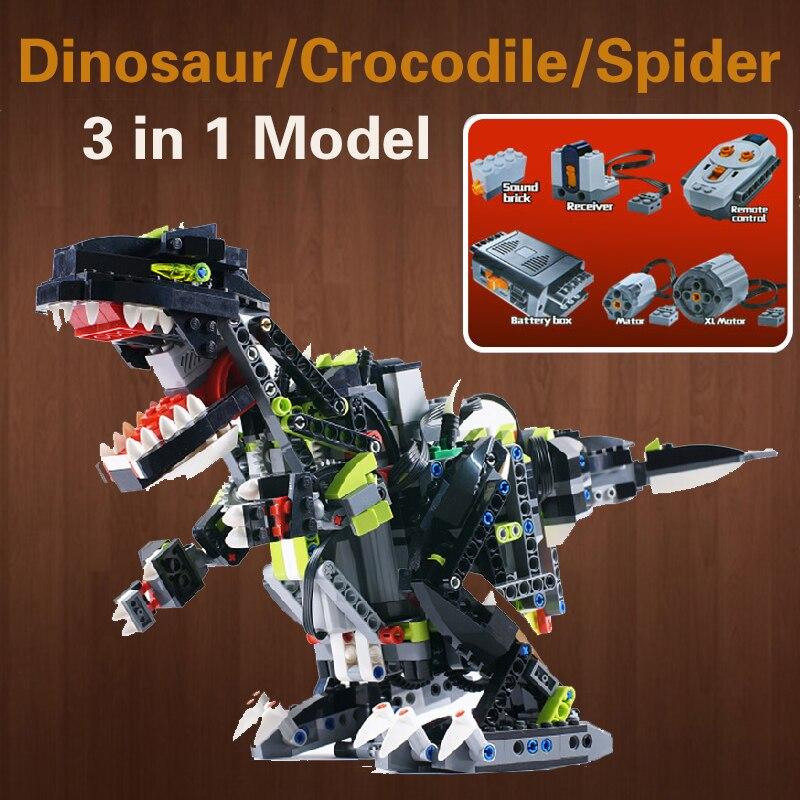 In Stock Technic 24010 Remote Control Dinosaur Crocodile Spider 3in1 RC Monster 792pcs Building Blocks Model