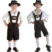 Children Boy Lederhosen Oktoberfest Costume German Bavarian Fantasia Party Fancy Dress With Hat Size S XL