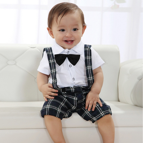 ჱcute Baby Boy Casual Wedding Suit Clothes Set Vest Kawaii Plaid