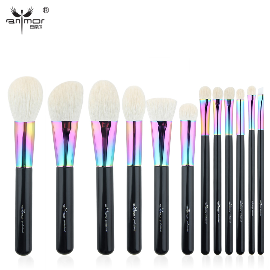 цены Anmor High Quality Goat Hair Makeup Brushes Set Luxurious 12 pcs Make Up Brushes Professional Makeup Tools CFCB-YF10