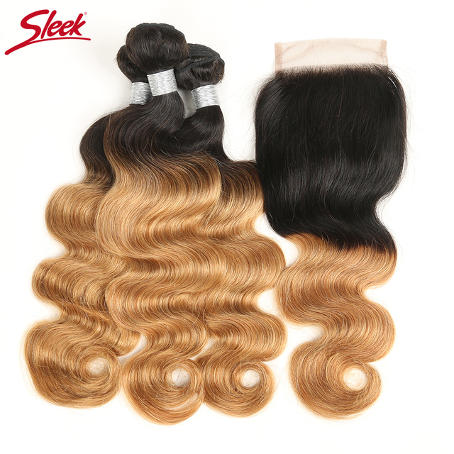 Sleek Ombre Brazilian Body Wave Remy Hair Weave Human Hair 3 Bundles
