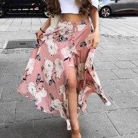 BerryGo Floral Print Long Skirt Women Casual Boho Beach Summer Maxi Skirt Female Button Split Streetwear