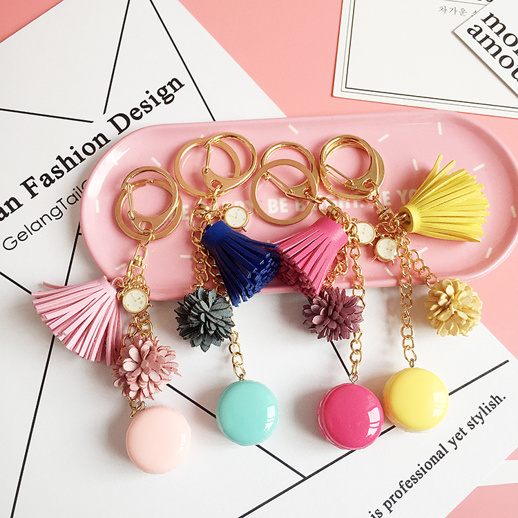 2018 Resin Macaron Keychains Lovely Macaroon Key Chains Bag Charm accessories Cake Macarons Tassel Keyring gift Jewelry macaroon cake bell bowknot cherry keyring