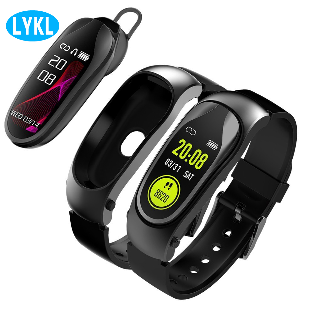 LYKL bracelet intelligent KR04 casque bande intelligente moniteur de fréquence cardiaque en temps réel affichage couleur sans fil Bluetooth pour Android IOS