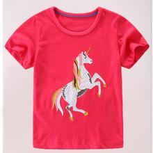 6 шт./партия, одежда для маленьких девочек Детские футболки футболка с короткими рукавами для девочек с изображением лошади sylvia 587993943924