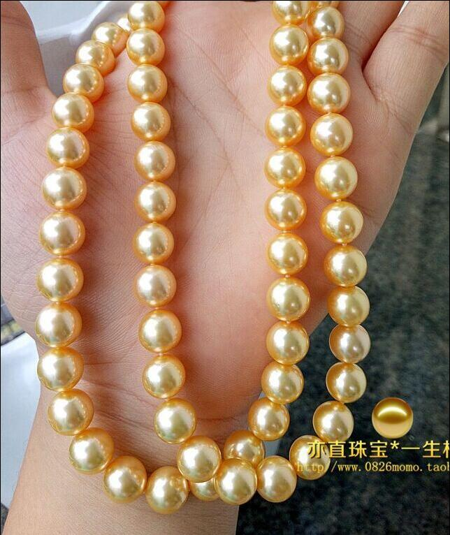 noble women gift 32INCH  GOLD CLASP HUGE natural AAA 10-11mm south seas gold pearl necklace 32inch noble women gift 32INCH  GOLD CLASP HUGE natural AAA 10-11mm south seas gold pearl necklace 32inch