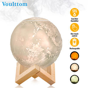 USB Humidifier Desk Aromatherapy Diffuser with LED Moon Lamp Cool Mist Humidifier Function Adjustable Brightness Mist Mode