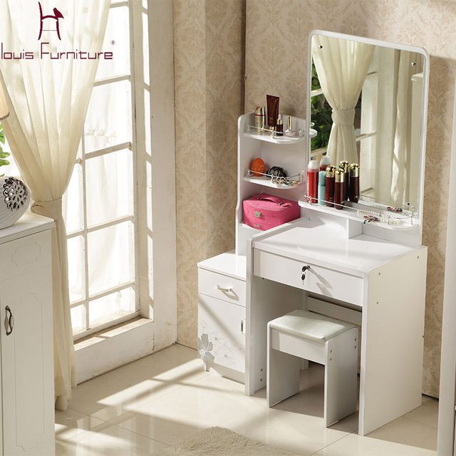 Concise Style Dresser White Ivory Purple Pink Colored Dressing Table With Mirror Stool
