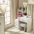 Estilo conciso cômoda branco marfim roxo rosa colorido penteadeira com espelho, Fezes