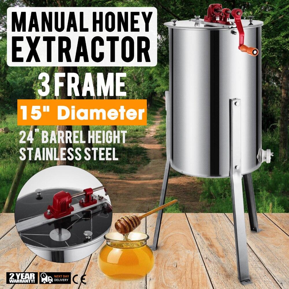 Baru Besar 3 Bingkai Stainless Steel Manual Madu Extractor