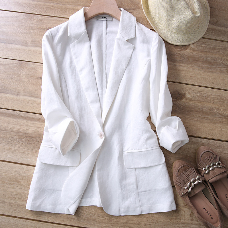 Japanese High-end Linen Small Suit Female Jacket 2019 Spring Summer Slim Ladies Suit Coats White Gray Blue