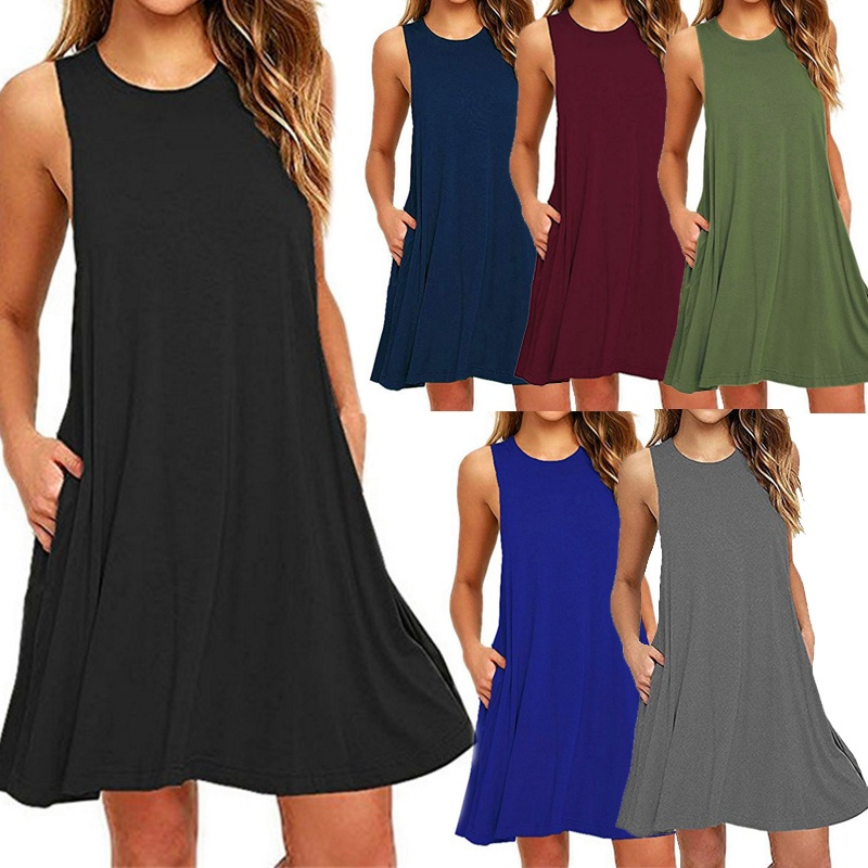 8c1b86a893f ... Women s Fashion Sleeveless Pockets Casual Tank Dress Summer Solid Vest  Swing Dresses 7 Colors Plus Size