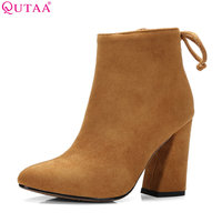 QUTAA 2017 Women Shoes Ankle Boots Elastic band Stretch Fabric Hoof High Heel Fashion Women Party Shoes Black Warm Size 34-43
