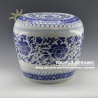 Apple Shape Blue And White Ceramic Stool