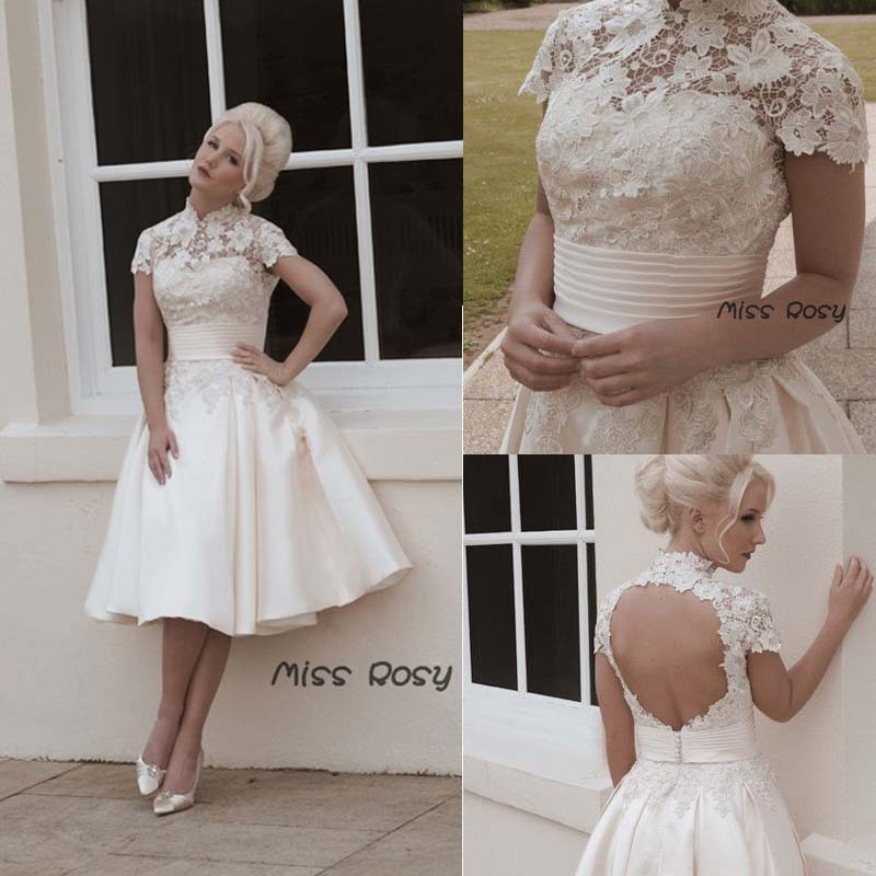 High collar knee length short sleeve open back 50 39 s for Lace wedding dresses open back