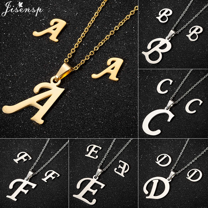 Jisensp 26 Initial Letter Necklace Women Jewelry Gold Chain Stainless Steel Pendant Boho Statement Necklace Men Collier Femme
